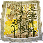 Vera Forest Scene Muted Pastels Crepe de Chine Scarf 28 IN