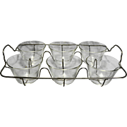 Pyrex 462 Custard Cup Clear Glass Set of 6 With Wire Caddy