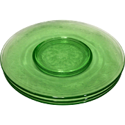 Hazel Atlas Cloverleaf Green Luncheon Lunch Plates 8 In Set of 3 Depression Glass