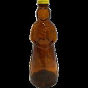 Mrs Butterworth Amber Glass Bottle Anchor Hocking Yellow Metal Lid
