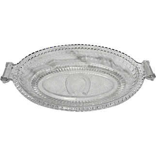 EAPG Adams Glass Good Luck Horseshoe Prayer Rug Pickle Relish Oval Dish