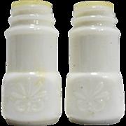 Matlock Wingate White Milk Glass Salt Pepper Spice Shakers Pair Scroll Embossed