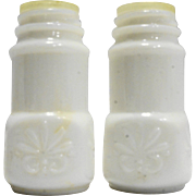 Matlock Wingate White Milk Glass Salt Pepper Spice Shakers Pair Scroll Embossed