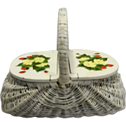 White Wicker Basket Double Lid Strawberry Decorated Made in Hong Kong