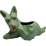 Scottie Dog Pottery Planter Jadeite Green Hand Painted Red Eyes