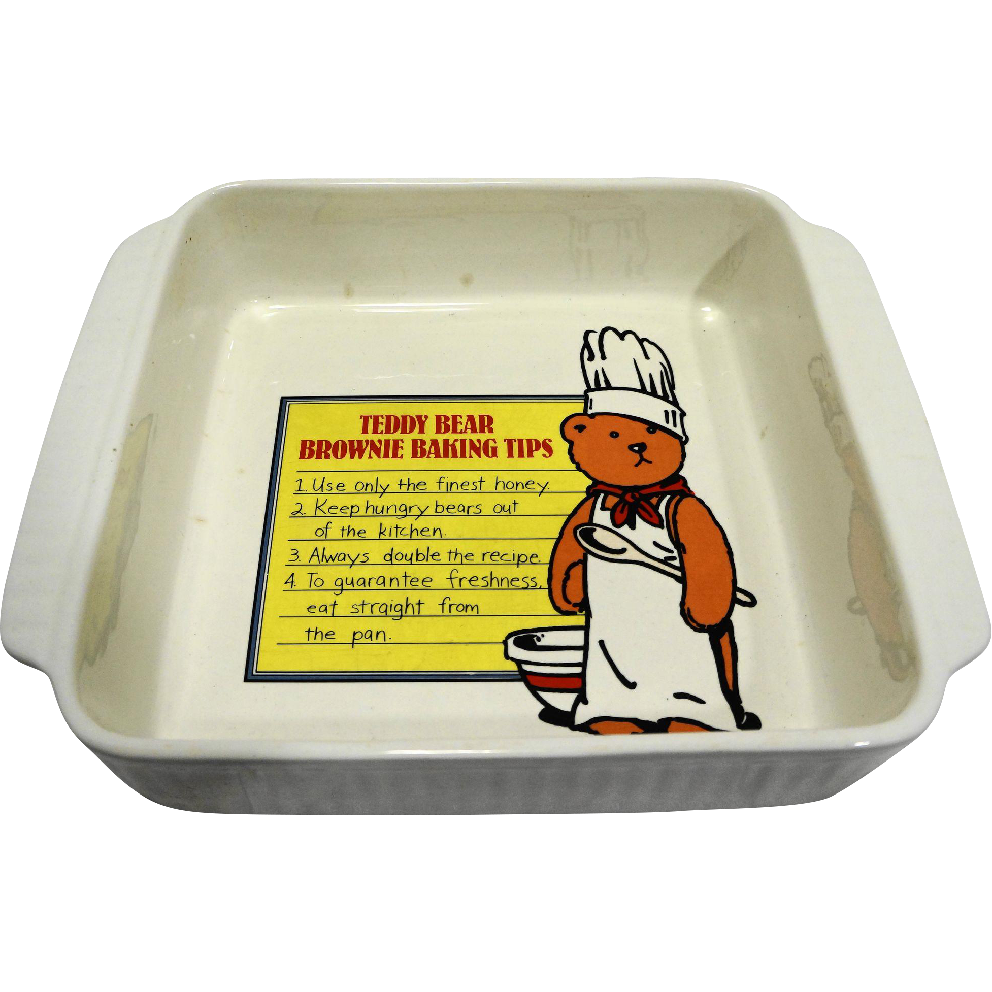 California Pottery 965 White Ribbed Square Baking Pan Teddy Bear Brownie Tips