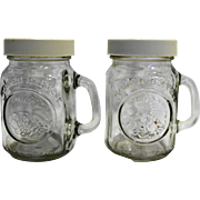 Golden Harvest Salt Pepper Shakers Glass Mini Mason Jars White Lids