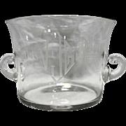 Art Deco Blown Glass Champagne Wine Chiller Ice Bucket Clear Cut Monogram