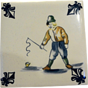 KLM Delft Tile Coaster Childrens Series Dutch Boy Fishing 1980s Amsterdam Holland