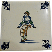 KLM Delft Tile Coaster Childrens Series Leap Frog Amsterdam Holland Dutch