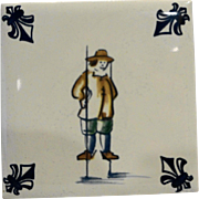 KLM Delft Tile Coaster Childrens Series Stilt Walking Amsterdam Holland Dutch