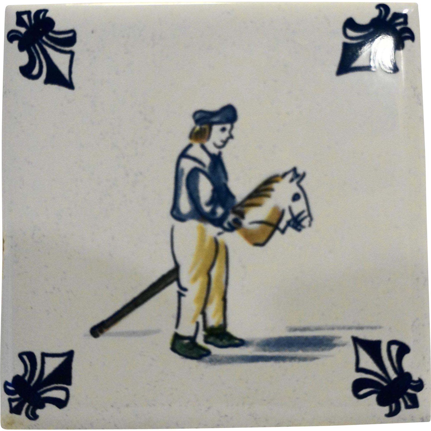 KLM Delft Tile Coaster Childrens Series Stick Horse Amsterdam Holland Dutch