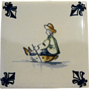 KLM Delft Tile Coaster Childrens Series Sled Riding Amsterdam Holland Dutch