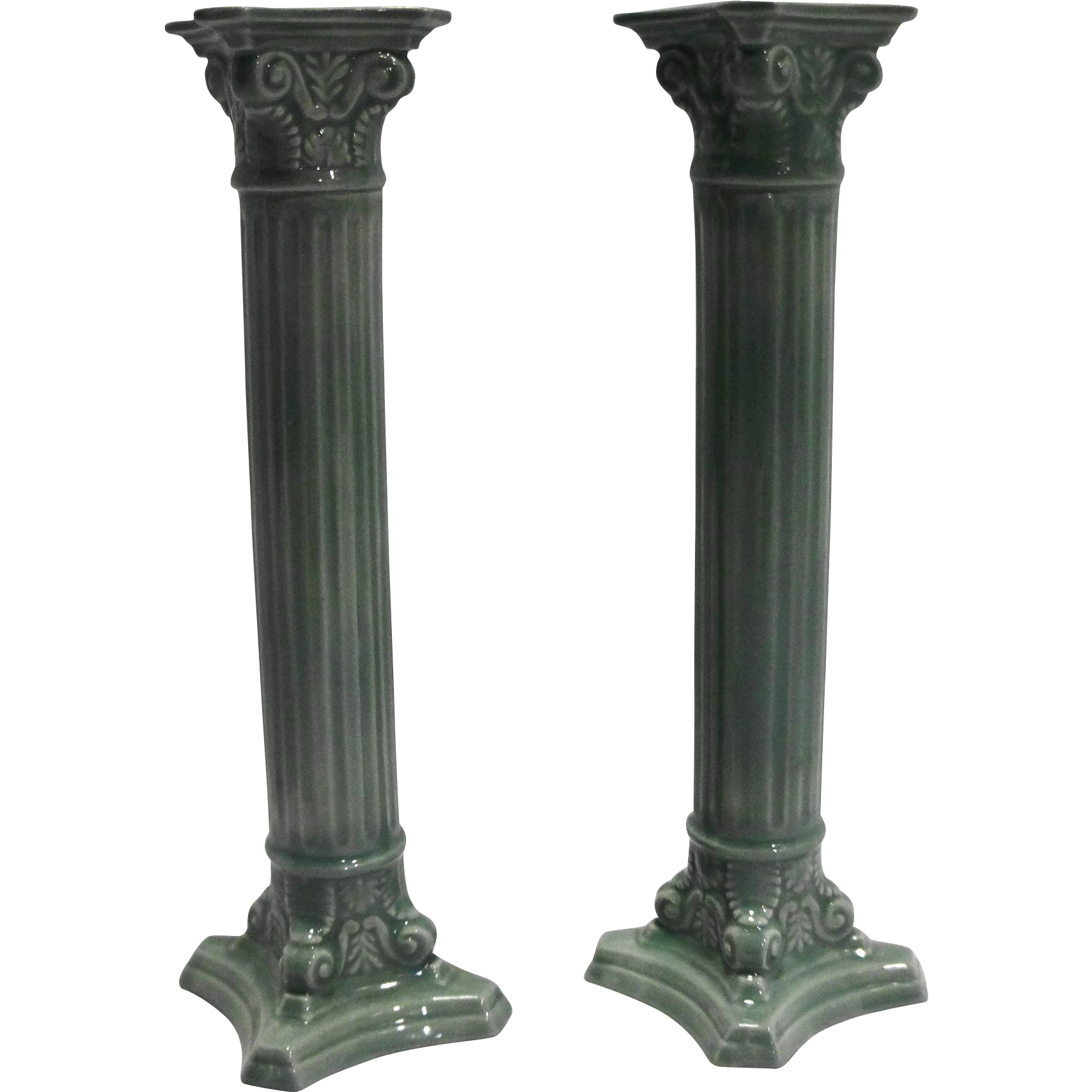 Sage Jadeite Green Hand Painted Hand Made Pottery Candle Holders Pair