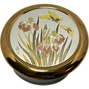 Art of Chokin Round Porcelain Trinket Box Irises Butterflies Gold Copper