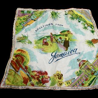 Jamaica Souvenir Ladies Handkerchief Silk Chiffon Pastel Print