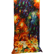 Bright Floral Jewel Tones Silk Scarf Oblong Wrap Large