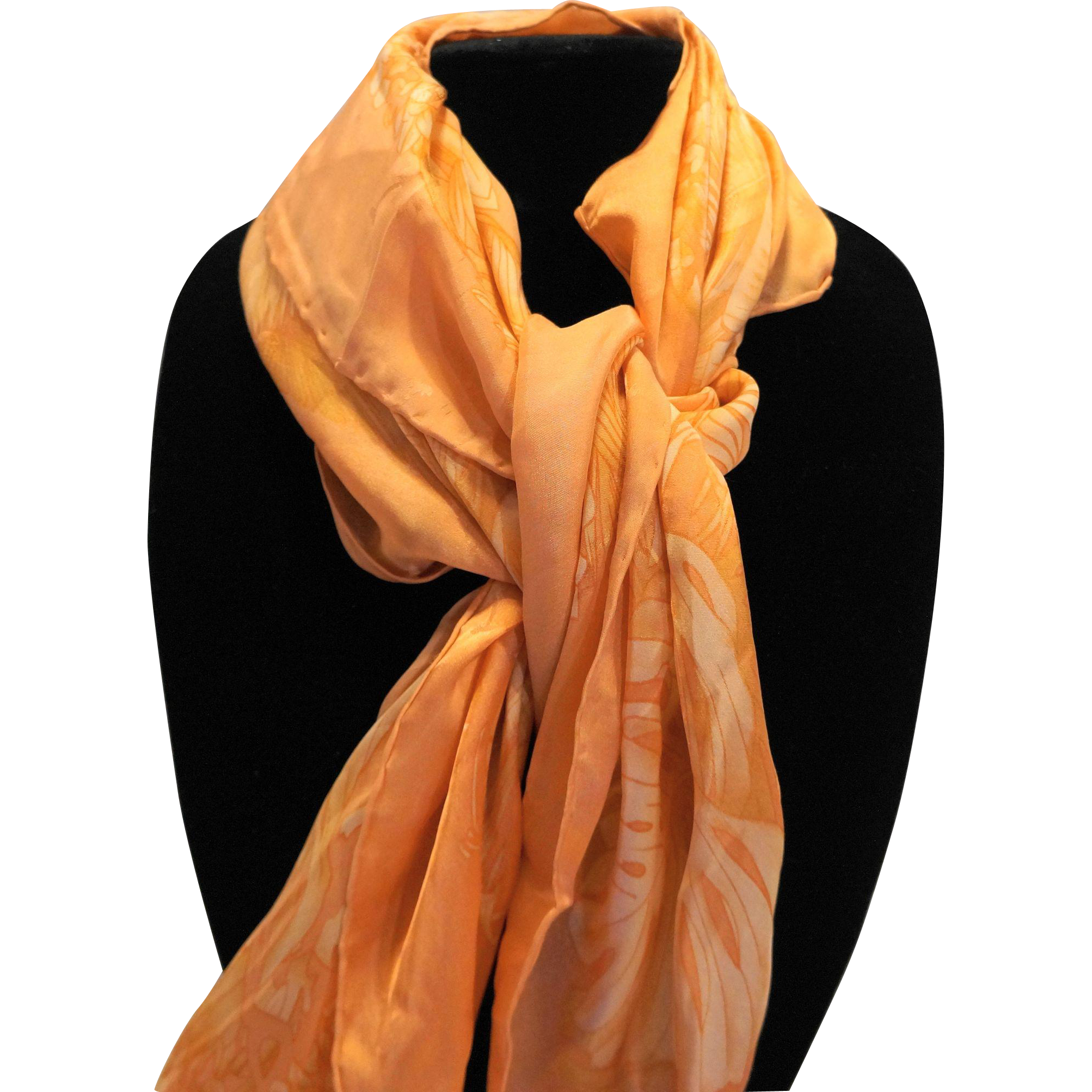 Tommy Bahama Pale Orange Jungle Print Silk Scarf 34 IN
