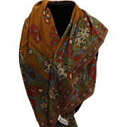 Liz Claiborne Brown Autumn Fall Floral Print Silk Scarf 31 IN