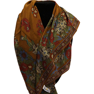 Liz Claiborne Brown Autumn Fall Floral Print Silk Scarf 31 IN