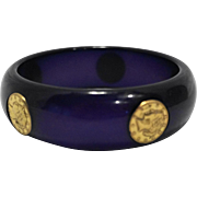Purple Moonglow Lucite Bangle Bracelet Inset Gold Tone Faux Coins