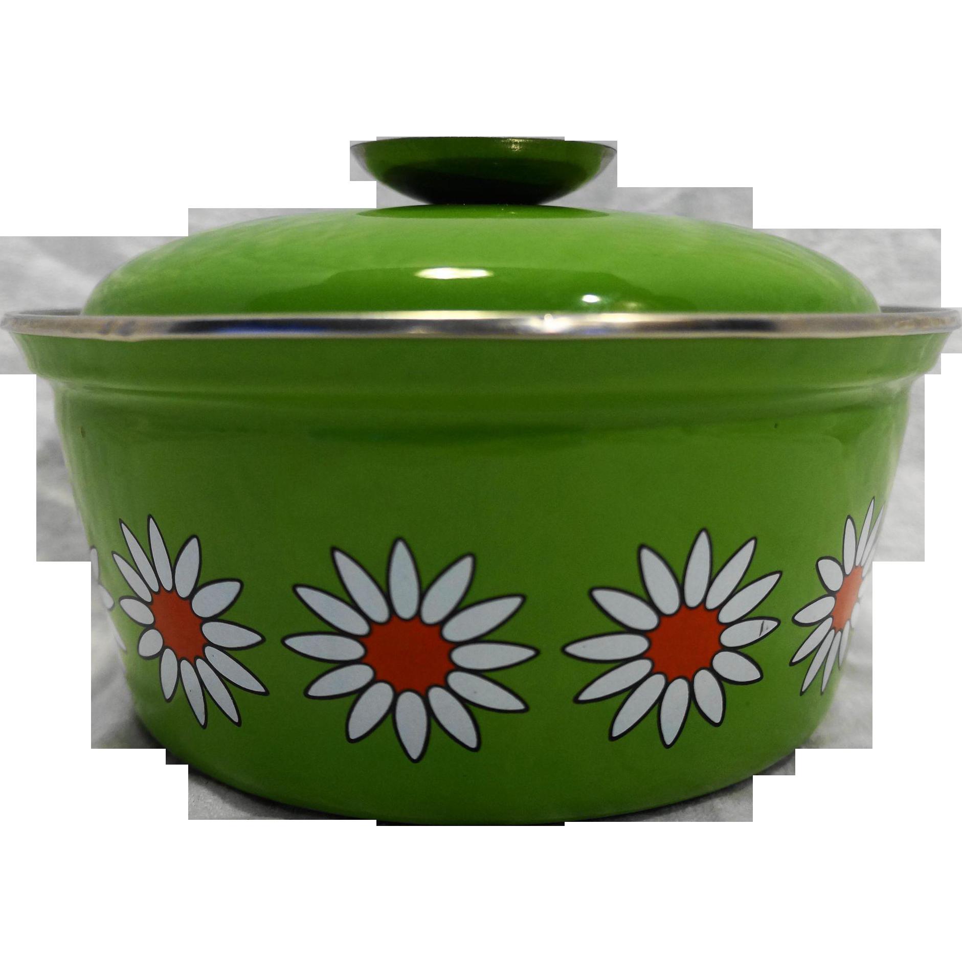 Spring Green Enamel Small Dutch Oven Pot Flower Power Daisies White Orange