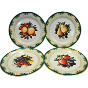 Fruit Lithographed Enamel Cabinet Plates Set of 4 Steel Green Gold Trim