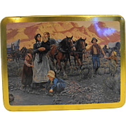 Mort Kunstler Pioneer Western Expansion Art Case Stationery Tin