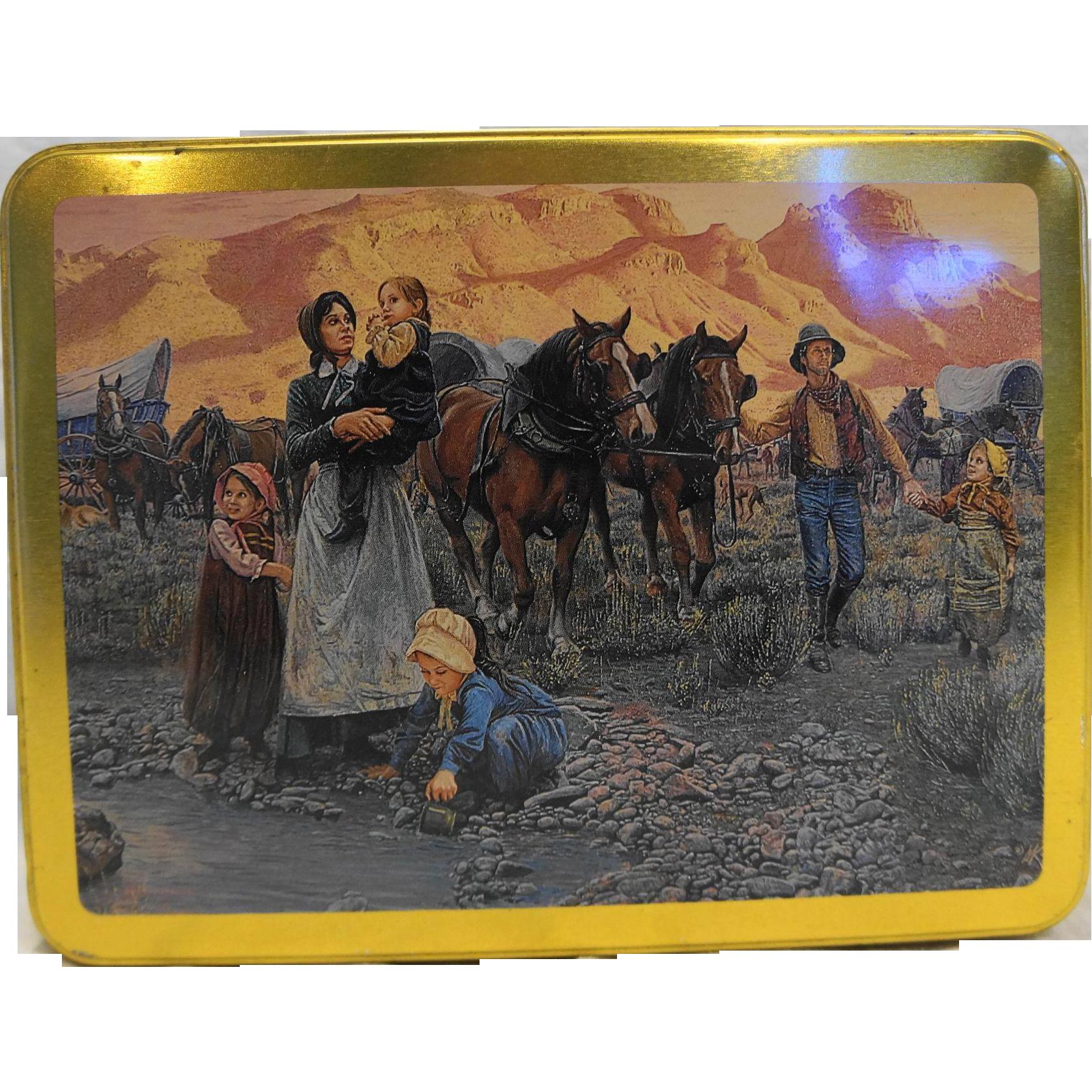 Mort Kunstler Pioneer Western Expansion Art Case Stationery Tin