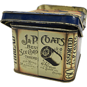 J P Coats Thread Decorated Tin Box Basket Double Handled