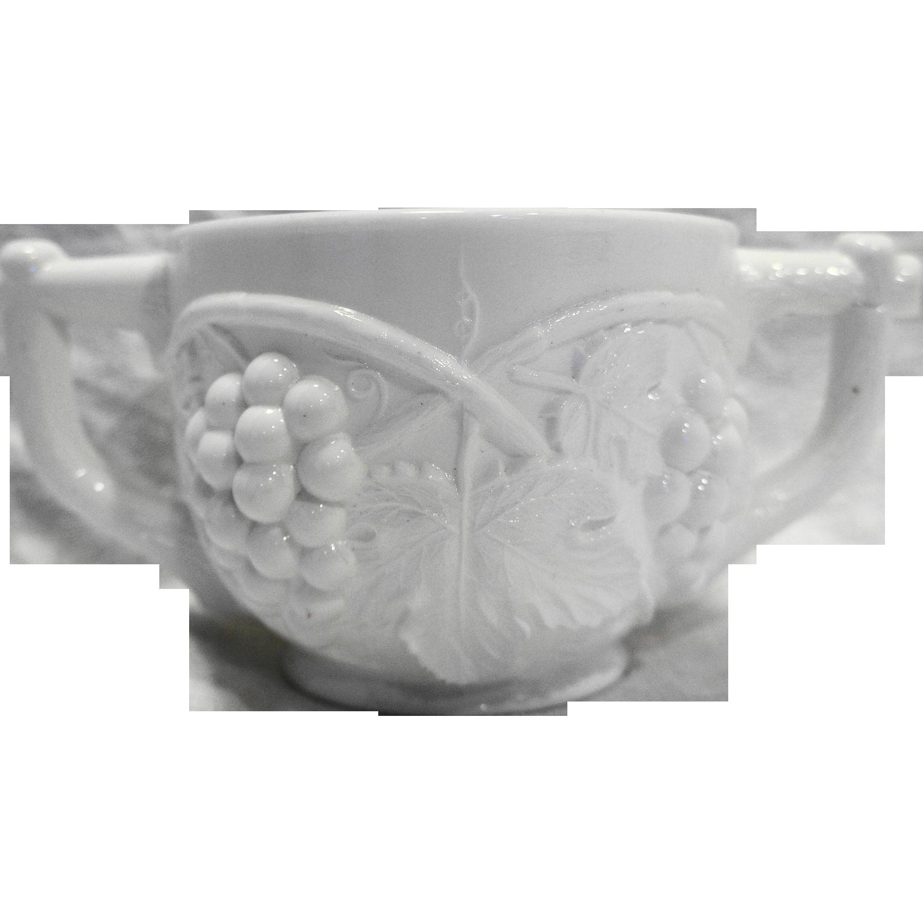 Duncan Miller Grape White Milk Glass Open Sugar Bowl 1950s