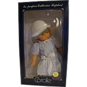 Corolle Catherine Refarbet 19 IN Vinyl Doll Blond Blue Stripe Dress