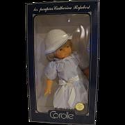 Corolle Catherine Refarbet 19 IN Vinyl Doll Blond Blue Stripe Dress