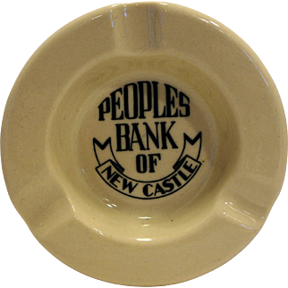 People's Bank of New Castle Inca Ware Shenango China Ashtray