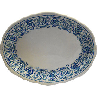 Shenango China Restaurant Ware Oval Platter 12 IN Blue Medallion Scrolls Crests