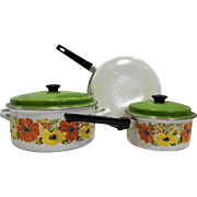 Orange Yellow Flower Porcelain Enamel Cookware Set 5 Pcs 1970s Pots Pans