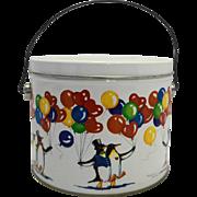 Marjorie Sarnat Penguins Balloons Lunch Pail Bucket Tin 1984 WSCC
