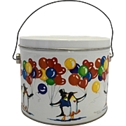 Marjorie Sarnat Penguins Balloons Lunch Pail Bucket Tin 1984 WSCC