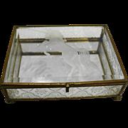 Etched Glass Unicorn Dresser Casket Trinket Jewelry Box Brass Made in Taiwan