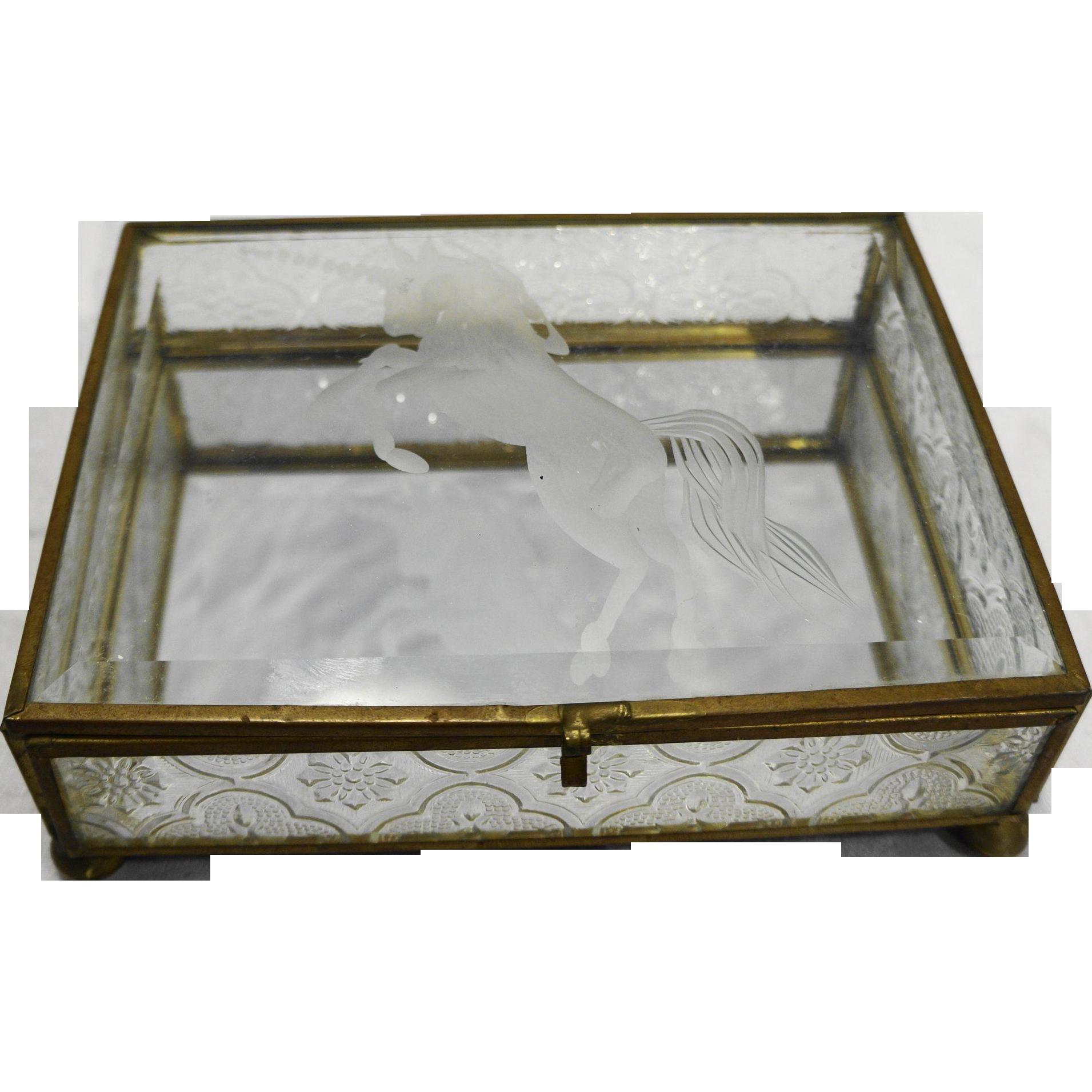 Etched Glass Unicorn Dresser Casket Trinket Jewelry Box