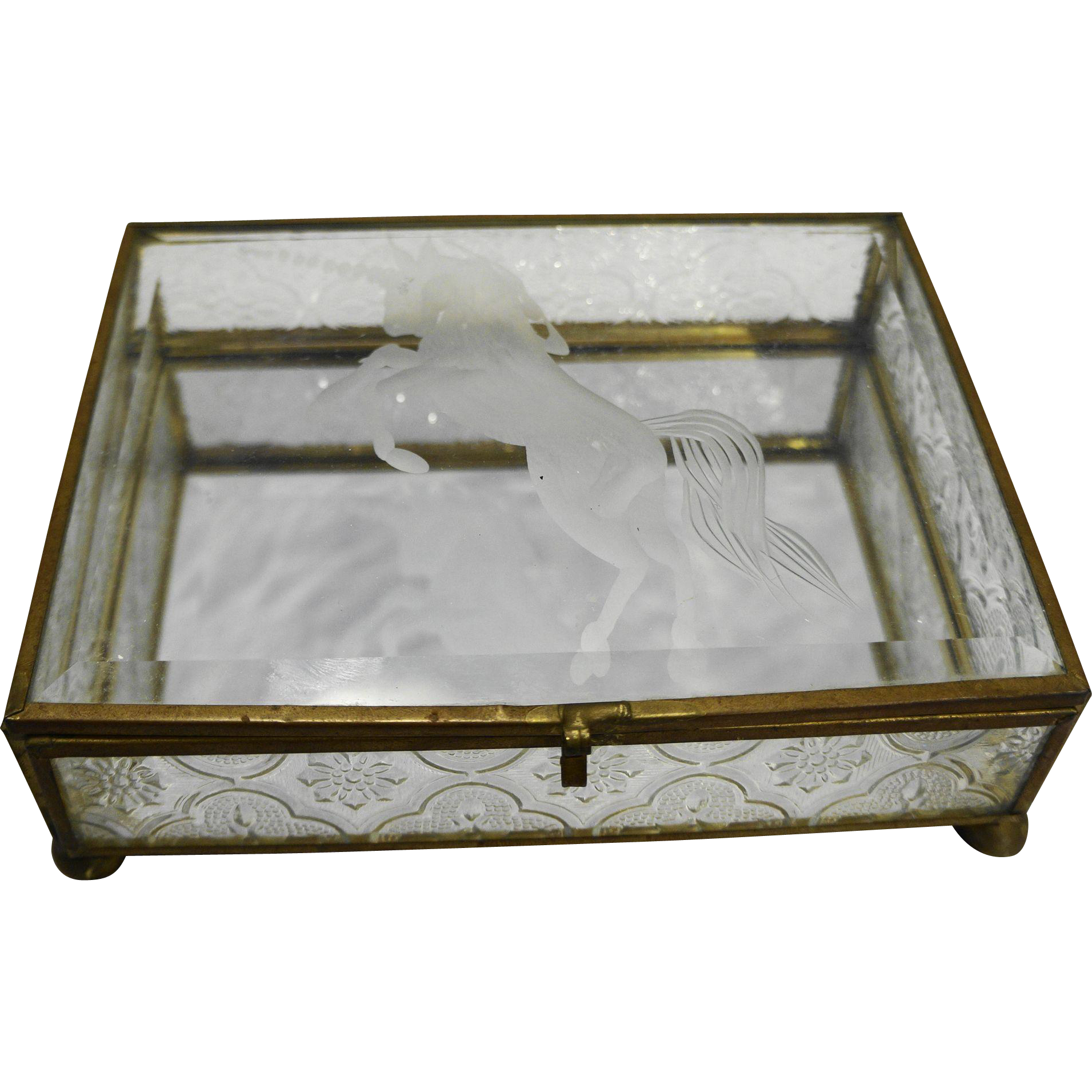 Etched Glass Unicorn Dresser Casket Trinket Jewelry Box Brass Made in Taiwan