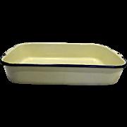 Cream Enamel Cobalt Blue Trim Rectangle Pan 14 IN