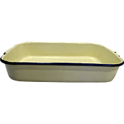 Cream Enamel Cobalt Blue Trim Rectangle Pan 14 IN