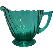 Jeannette Depression Glass Swirl Ultramarine Blue Green Creamer Cream Pitcher