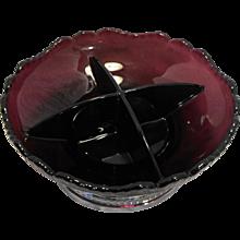 Cambridge Gadroon Amethyst 4 Part Relish Bowl Krome Kraft Farber Bros Base