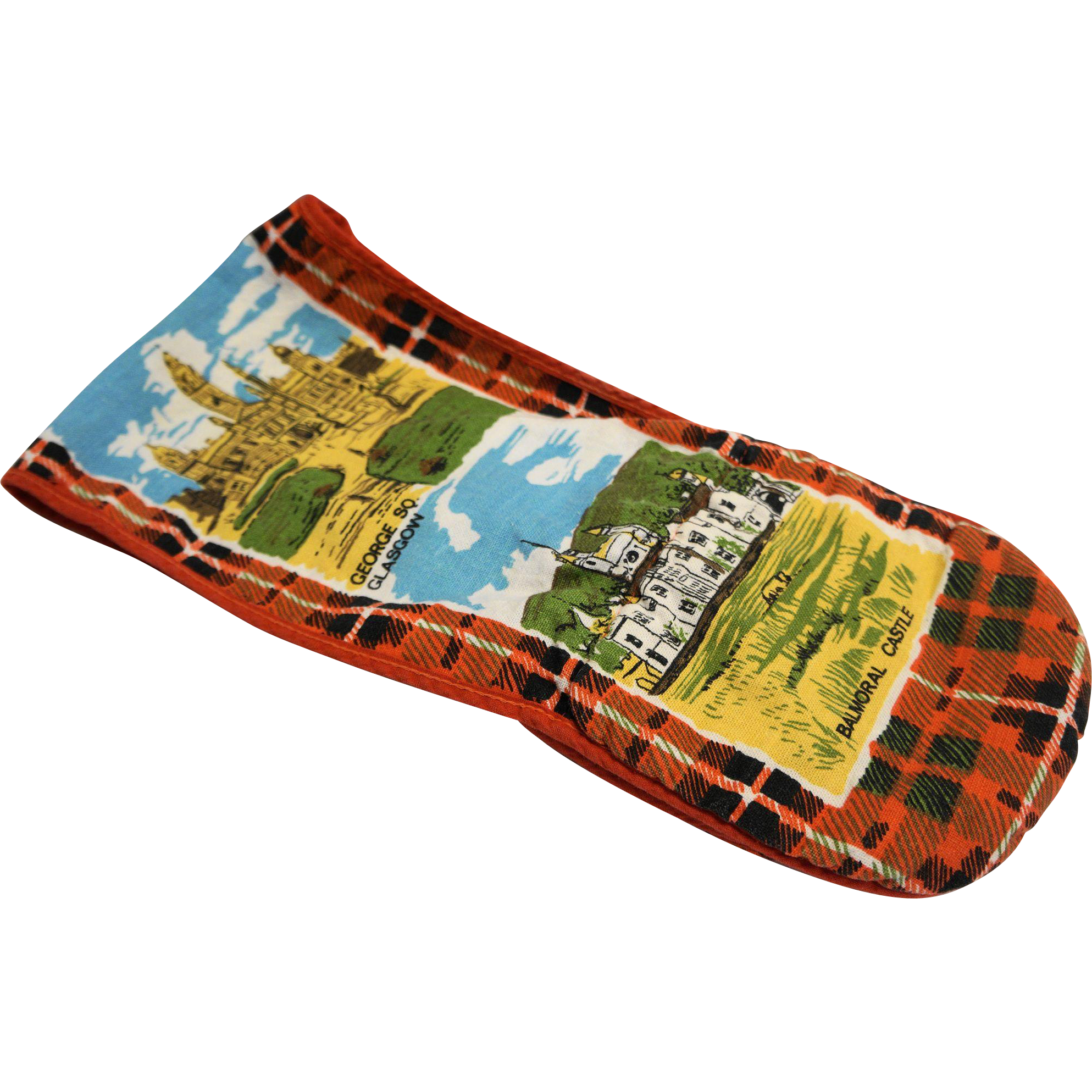 Scotland Souvenir Linen Printed Tea Towel Pot Holder Oven Mitt Combo