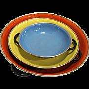 Red Yellow Blue Enamel Bowls Pans Made in Yugoslavia