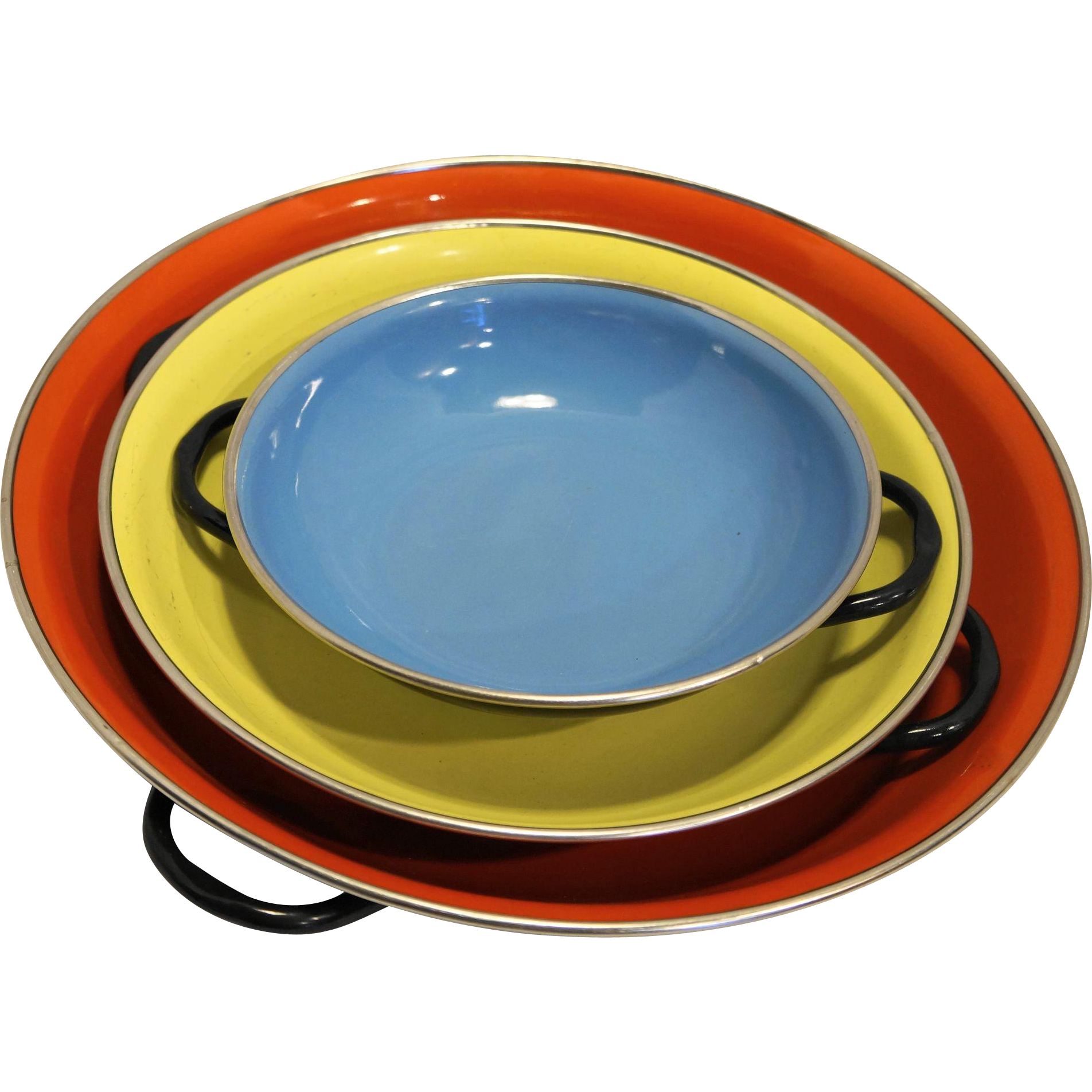 Red Yellow Blue Enamel Bowls Pans Made in Yugoslavia