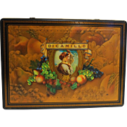 DiCamillo Bakery Niagara Falls Large Cookie Tin Fruit Portrait Black Gold Greek key