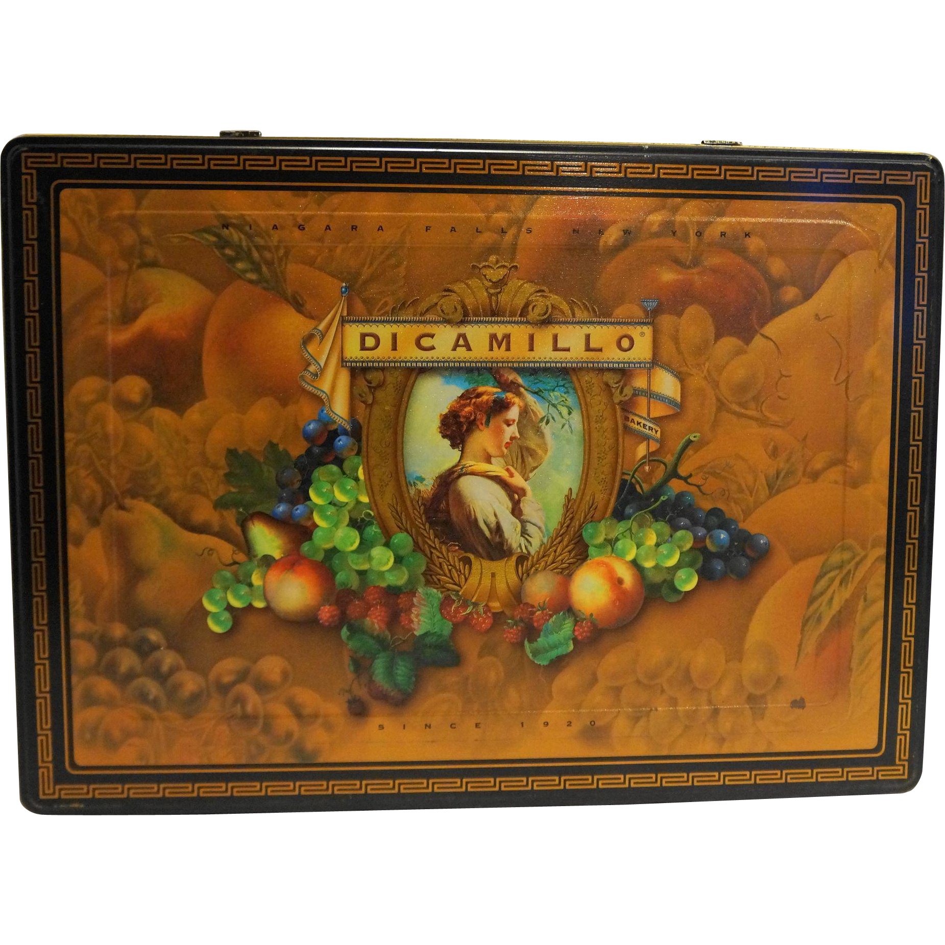 DiCamillo Bakery Niagara Falls Large Cookie Tin Fruit Portrait Black Gold Greek key